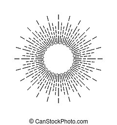 Vintage Linear Sunburst - Linear drawing of sunshine rays in...