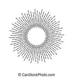 Vintage Linear Sunburst - Sunlight linear drawing. Outline...