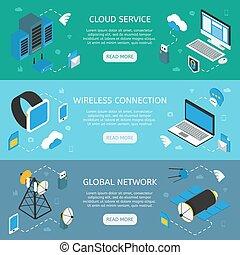 Wireless Technology Horizontal Isometric Banners - Wireless...