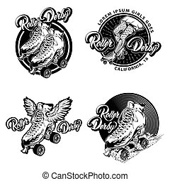 Roller Derby Monochrome Emblems - Roller derby monochrome...