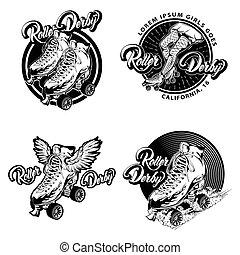 Roller Derby Monochrome Emblems - Roller derby monochrome...