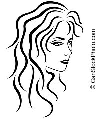Abstract female portrait half turn outline - Abstract female...