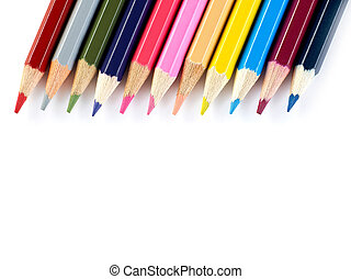 Pencils togheter - Multi-colored pencils on white background