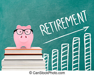 Retirement chart and piggy bank
