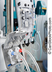 Hemodialysis bloodline tubes in dialysis machine -...