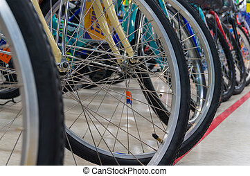 Bicycle Stainless Wheel and Tire Line up, Shallow depth of...