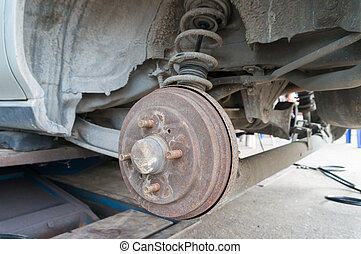 Rusty Rear Car Wheel Hub with Drum Brake System and...