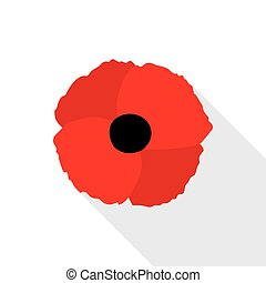 Red Poppy Flat Icon