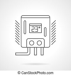 Water heater flat line vector icon - Water heater or boiler...
