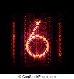 Nixie tube indicator of the numbers retro style. Digit 6 -...