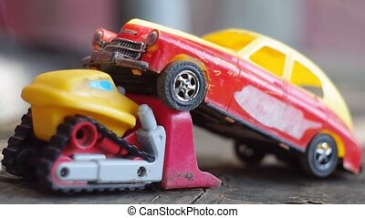 two bright toy cars for children, small trucks and passenger...