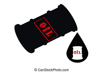 Barrel of oil and  drop