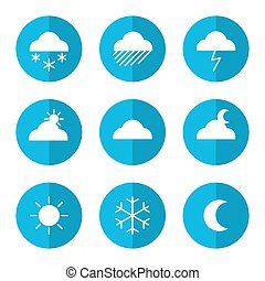 Weather icon set with clouds