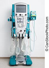 hemodiálisis, máquina, con, tubería, y,...