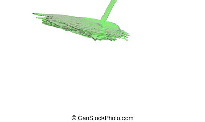 green liquid flow falls down fills background. Isolated on...