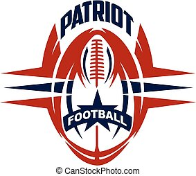 patriot football team design with ball and star for school,...