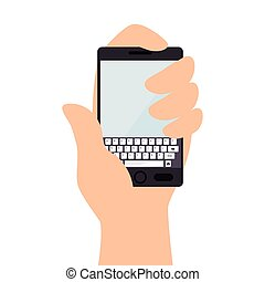 smartphone screen mobile phone hand icon vector - smartphone...