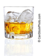 Whiskey - Stock image of Whiskey on the rocks over white...