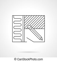 Home renovation plan flat line vector icon - Symbol of...