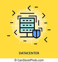 Datacenter colored icon - Datacenter colored isolated flat...