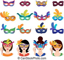 Ball Carnival Icons Set - Ball carnival icons set with women...