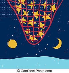 Stars in the net, sun and moon on the night sky Vector...