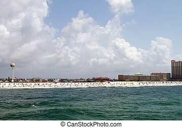 Pensacola Beach Skyline - Pensacola Beach skyline with shore...