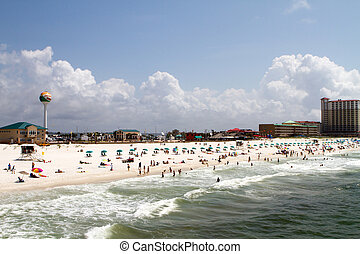 Pensacola Beach - Tourists and vacationers sunbath and swim...