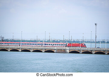railway bridge - Venice, Italy, June, 21, 2016: railway...