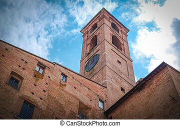Palazzo Ducale - Urbino, Italy - August, 1, 2016: wall of...