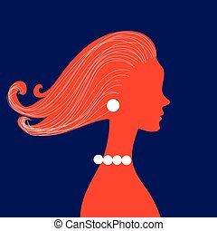 Woman silhouette with curly hair on banners for hairdressing...
