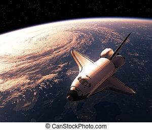 Space Shuttle Orbiting Planet Earth