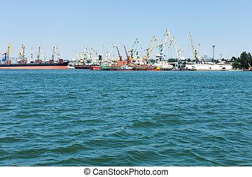 ciudad, comercial, puerto