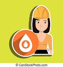 woman gallon gasoline icon vector illustration graphic