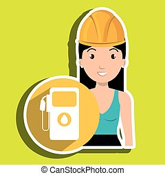 woman gallon gasoline icon vector illustration graphic