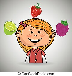 girl fruit food healthy