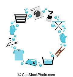 laundry set icons isolated