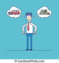 Businessman with no money, bankrupt. Man dreams of a car. The manager thinks about the financial issue. Poor man. Character in flat style. Thin line vector illustration isolated on a blue background.