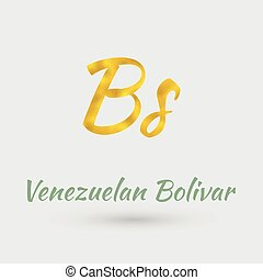 Golden Symbol Venezuelan Bolivar - Symbol of the Venezuela...