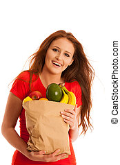 woman carrying a bag full of various fruits isolated over...