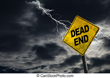 Dead End Road Sign With Stormy Background