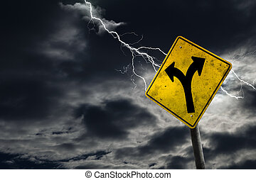 Folk in Road Sign With Stormy Background
