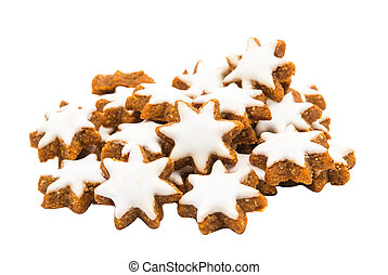 Christmas star shaped cookie with white icing