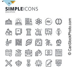 Modern thin line icons - Modern thin line education icons....
