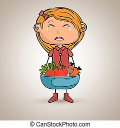 girl cry plate vegetables vector illustration graphic
