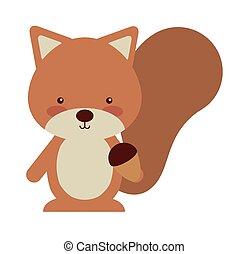 woodland chipmunk animal character cute icon vector...