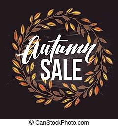 Autumnal sale round frame written with chalk on black...