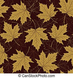 Fall leaf seamless pattern Autumn foliage Repeating golden...