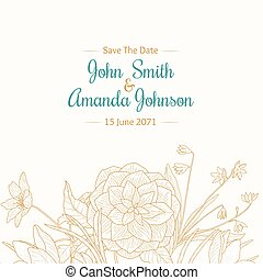 Vector Vintage Turquoise Light Brown Border Frame Floral Drawing Wedding Invitation Card With Stylish Flowers and Text In Classic Retro Design.
