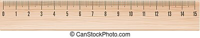 Vector wooden ruler 15cm long in metric system isolated on...